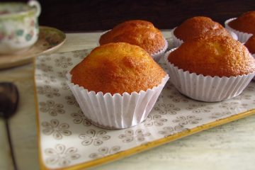 Orange muffins on a platter