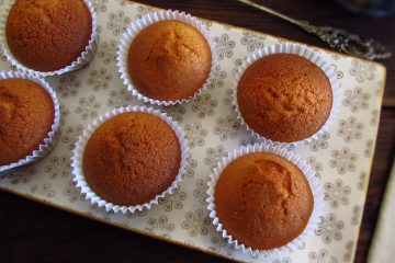 Vanilla muffins on a platter