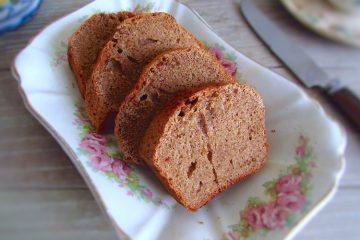 Slices of cinnamon and lemon sponge cake on a platter