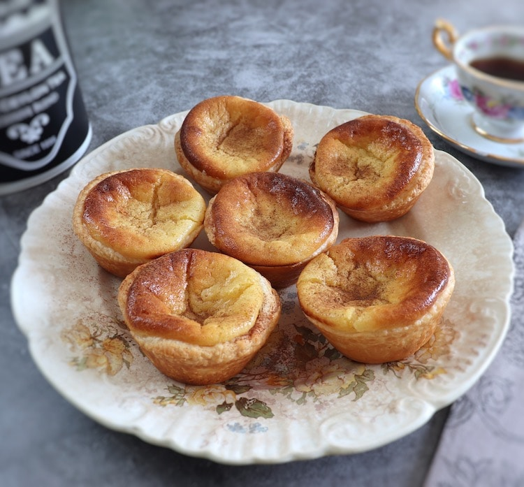 Portuguese Custard Tarts on a plate