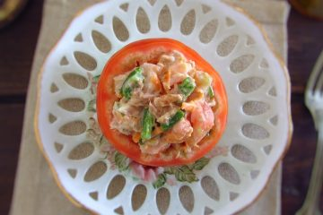 Stuffed tomatoes with tuna on a plate