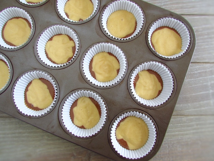 Vanilla and chocolate muffins dough on paper liners