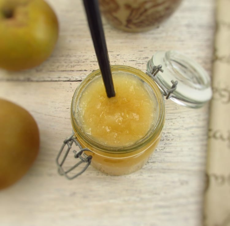 Pippin apple jam on a glass jar
