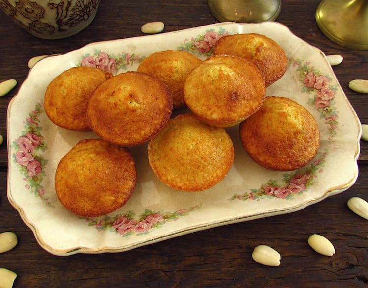 Almond muffins on a platter