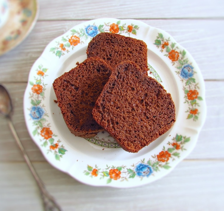 Chocolate cake slices on a dish