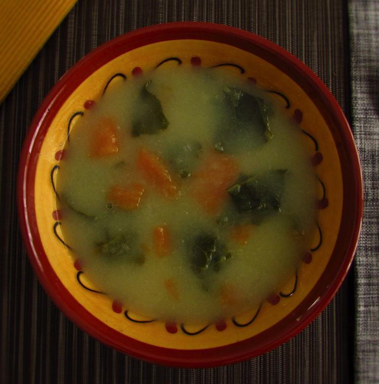 Collard greens soup on a soup bowl