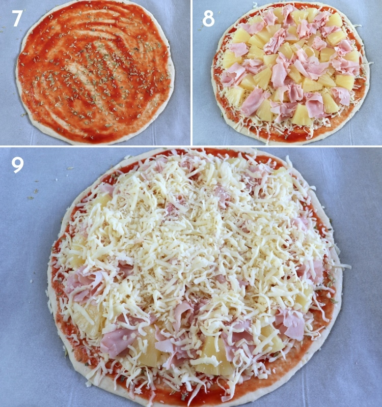 Ham and pineapple pizza steps