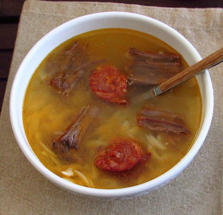 Meat soup on a soup bowl