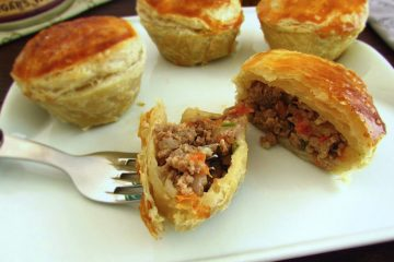 Mini meat pie on a plate