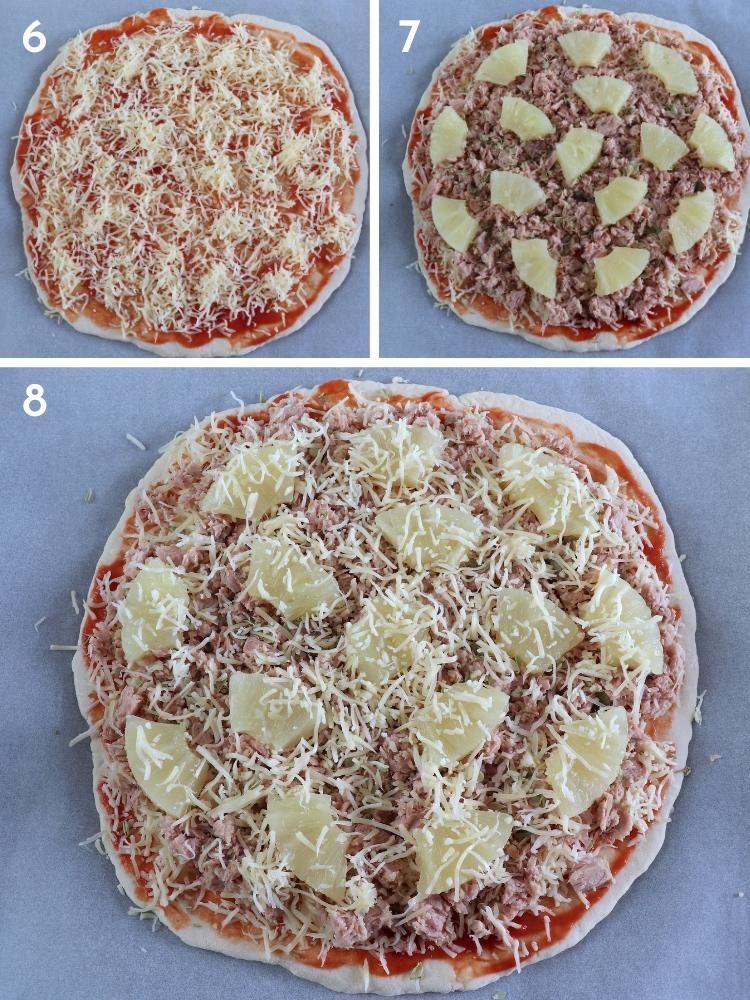 Pizza de atum e ananás passos