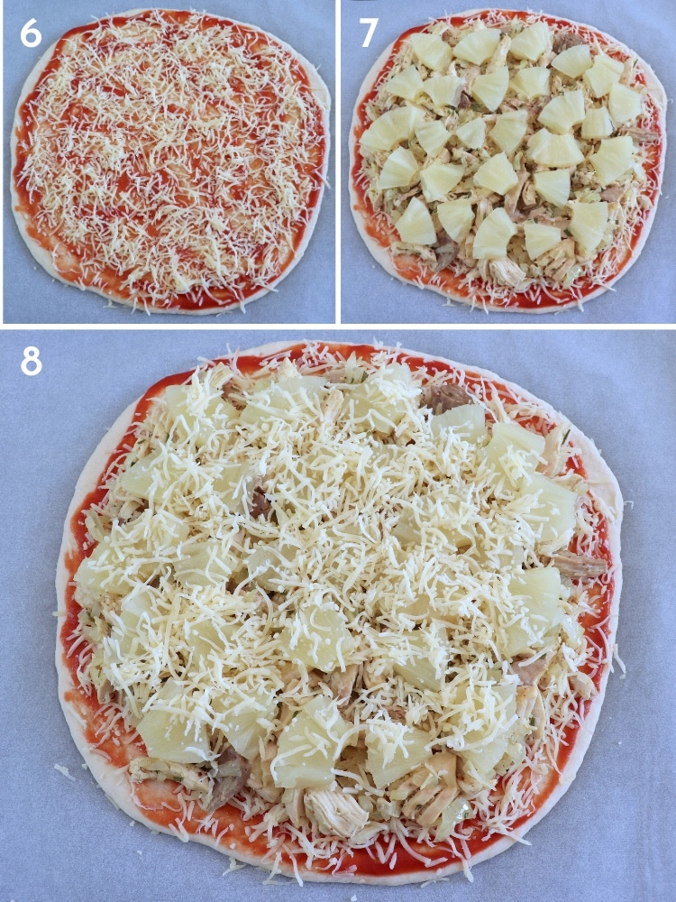 Pizza de frango e ananás passos