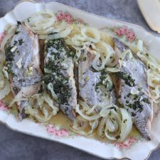 Stewed swordfish on a platter
