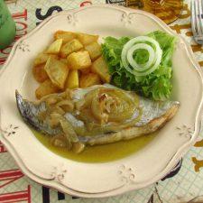 Stewed swordfish on a plate