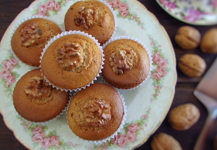 Walnut muffins on a plate