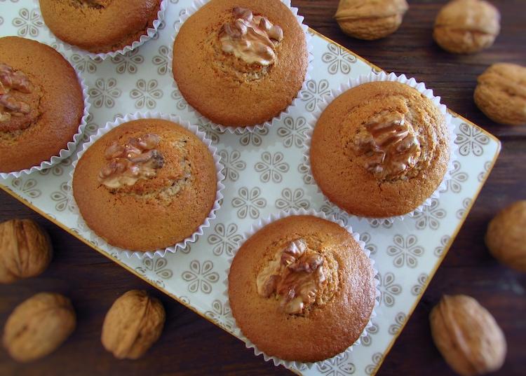 Walnut muffins on a platter