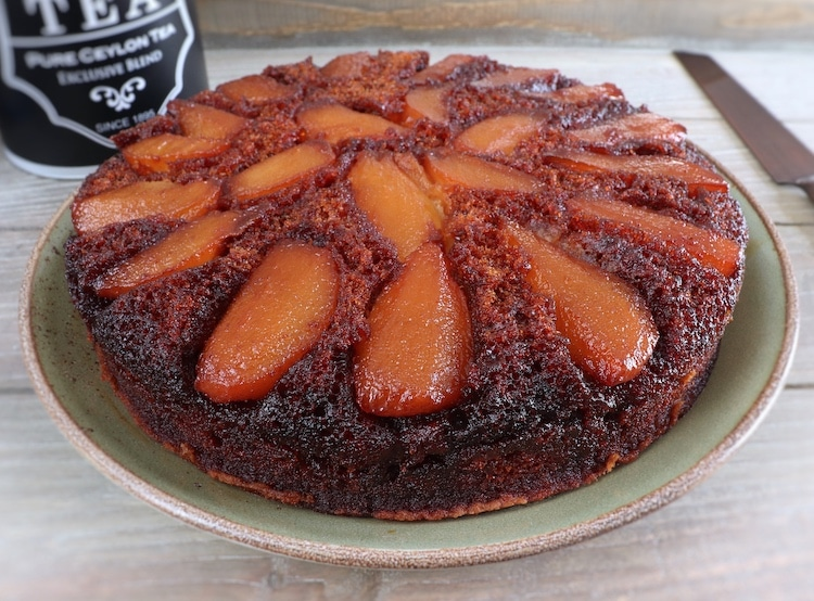 Caramelized pear cake on a plate