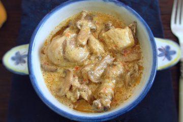 Chicken Stroganoff on a tureen