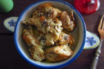 Chicken with yogurt on a tureen