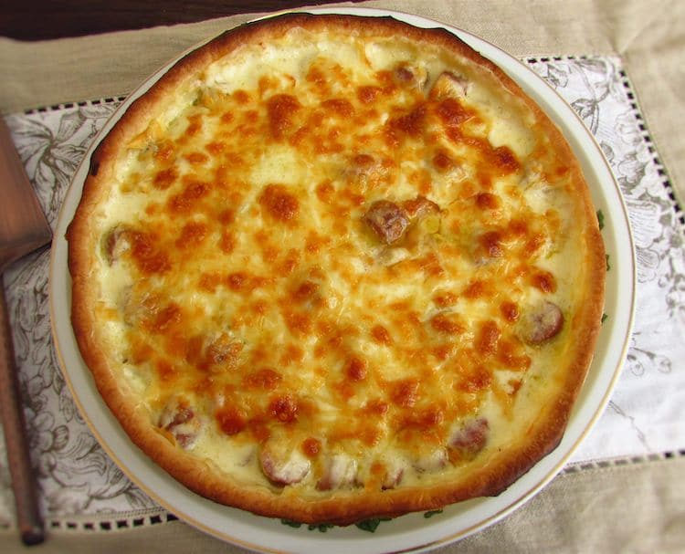 Ham sausage pie on a plate