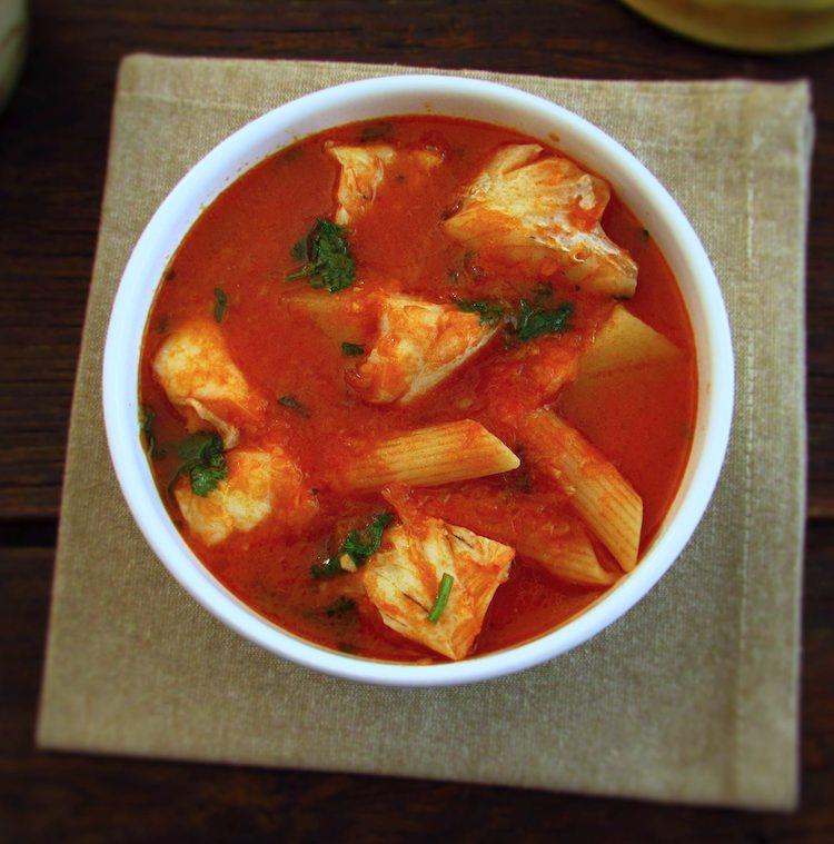 Ling fish soup on a soup bowl
