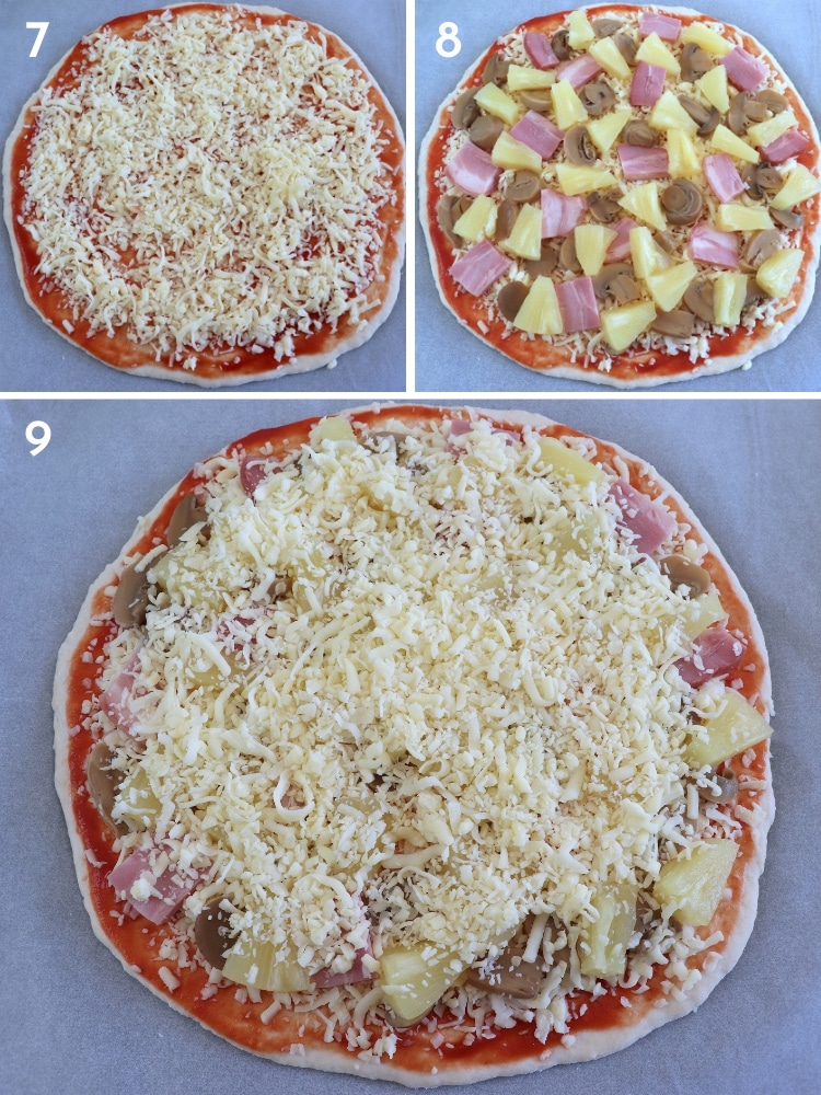 Mushroom, bacon and pineapple pizza steps