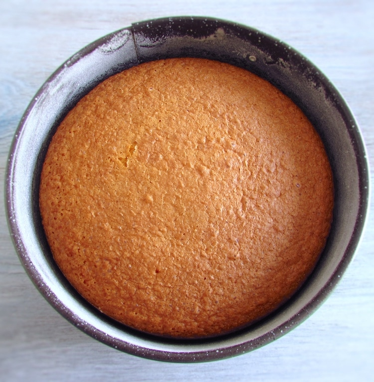 Orange cake on a round cake pan
