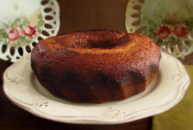 Pumpkin almond cake on a plate