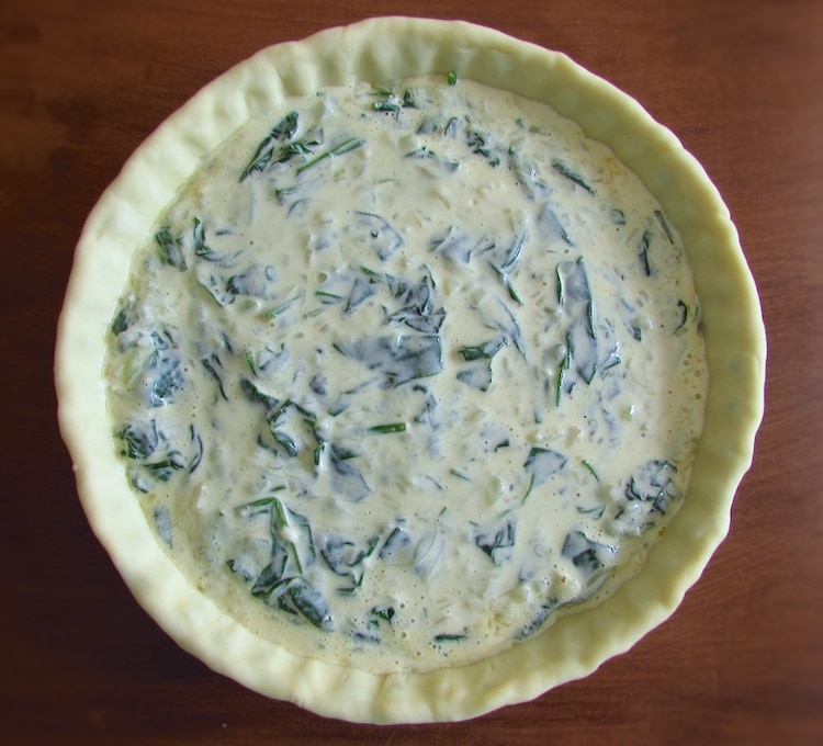 Pie filled with a spinach mixture