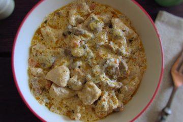 Turkey Stroganoff on a dish bowl