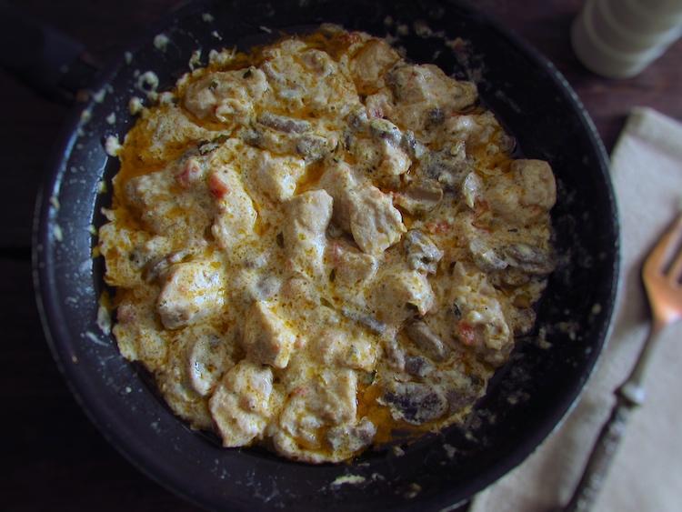 Turkey Stroganoff on a frying pan