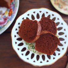 Economic chocolate cake slices on a dish