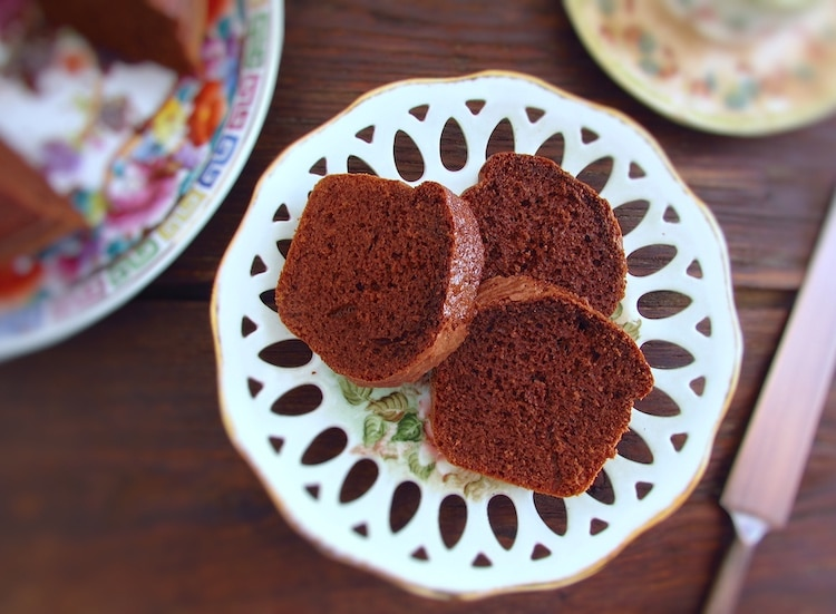Economic chocolate cake slices on a dish