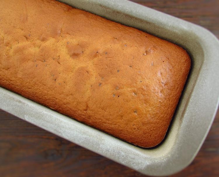 Apple cinnamon cake on a loaf tin