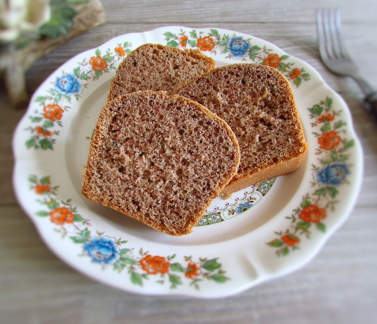 Slices of cinnamon fennel cake dough on a plate