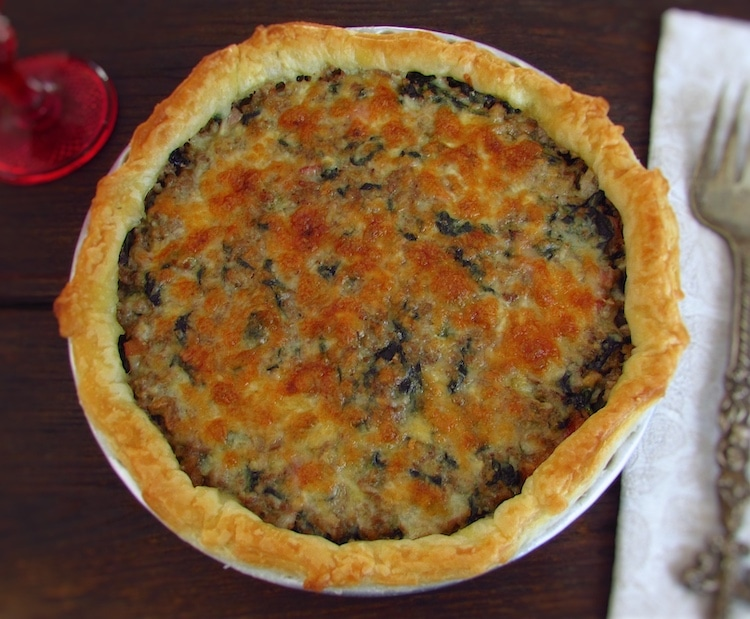 Meat, spinach and bacon pie