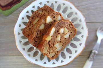 Yogurt, apple and cinnamon cake slices on a dish