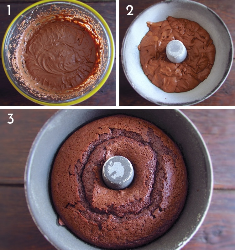 Chocolate yogurt cake steps