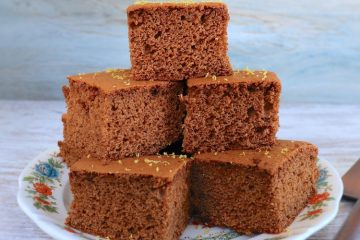 Cinnamon and honey squares on a plate