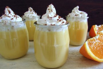 Orange sweet on glass bowls