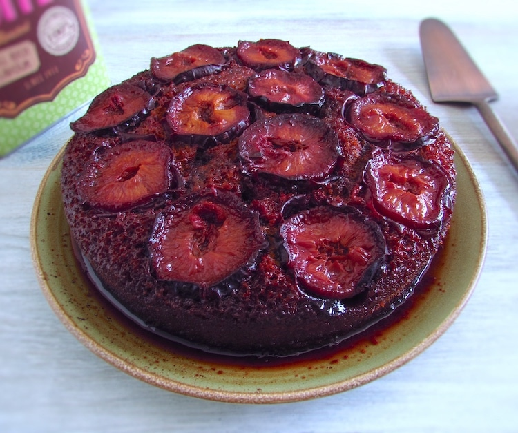 Caramelized plum cake on a plate
