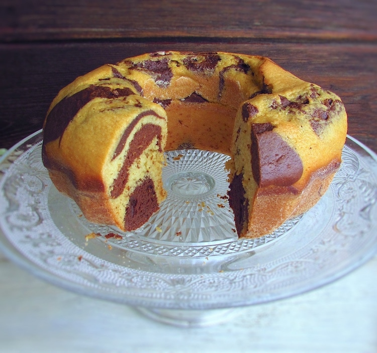Chocolate mango marble cake on a plate