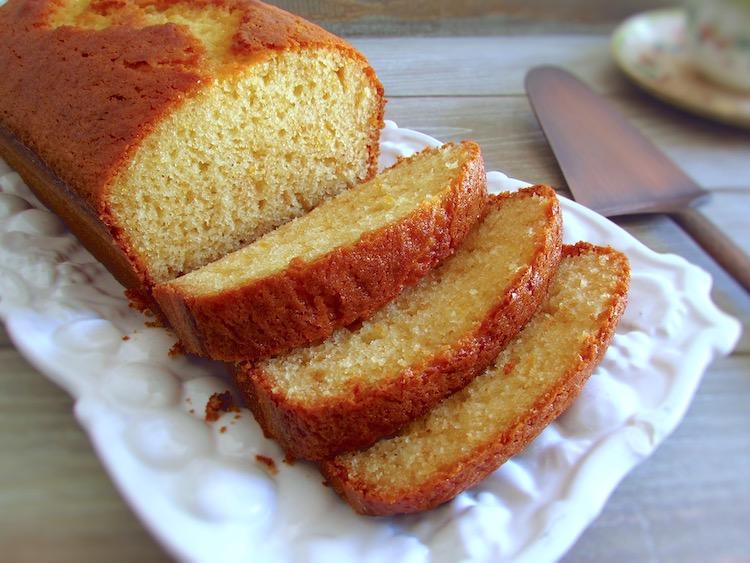 Olive oil cake slices on a platter