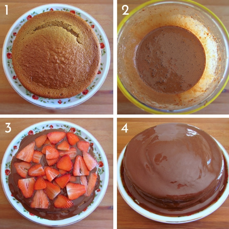 Coffee cake with chocolate mousse and strawberries steps