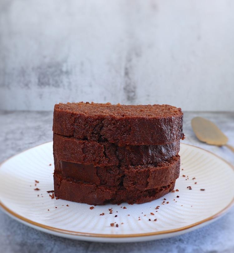 Orange cocoa cake on a platter