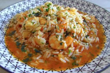 Rice with shrimp on a plate