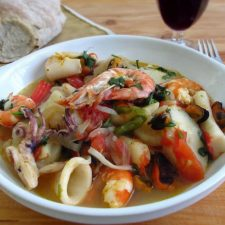 Portuguese seafood stew on a dish