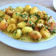 Monkfish in the oven on a platter