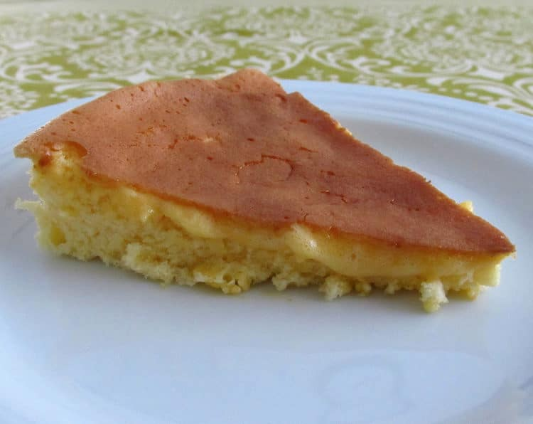 Portuguese sponge cake slice on a plate