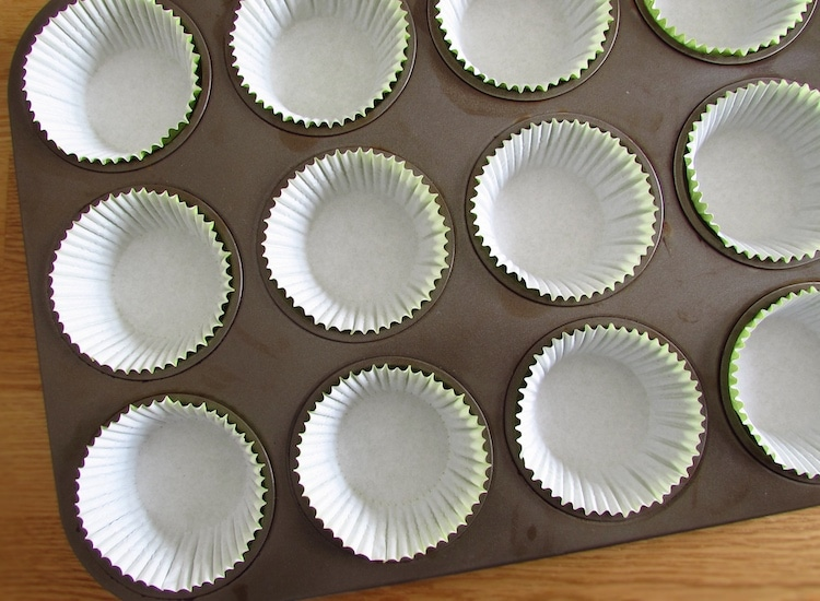 Muffin tins lined with paper liners