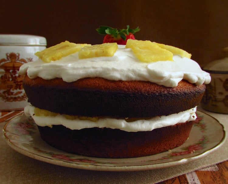 Sponge Cake Filled With Whipped Cream Pineapple Food From Portugal